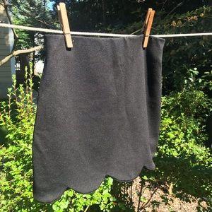 Black Skirt with Scalloped Hem